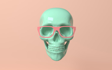 Human scull 3d rendering. Green death's-head in glasses on pink background