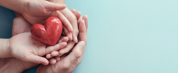 adult and child hands holding red heart on aqua background, heart health, donation, CSR concept, world heart day, world health day, family day, fair trade, organ donor day