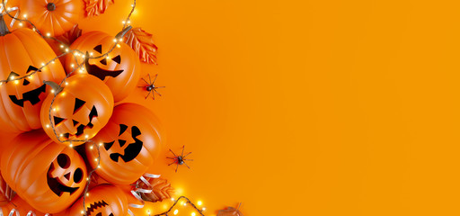 Happy Halloween party background. 3d rendering