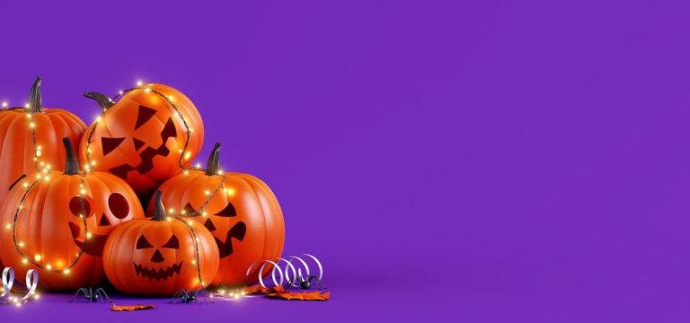 Happy Halloween party background. 3d rendering