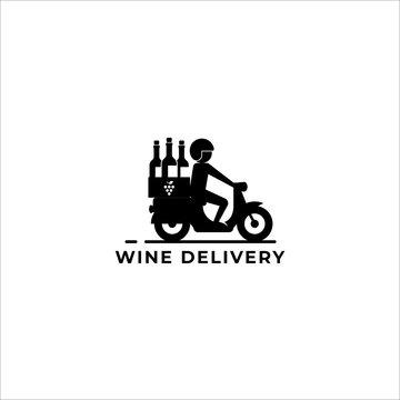 wine delivery logo vector icon ilustration
