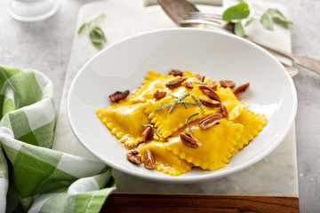 Butternut squash tortellini with brown butter and pecans