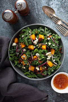 Fall salad with kale and butternut squash