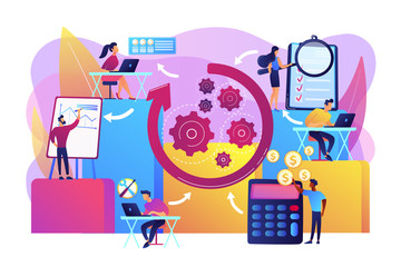 Workforce organization and management. Workflow processes, workflow process design and automation, boost your office productivity concept. Bright vibrant violet vector isolated illustration