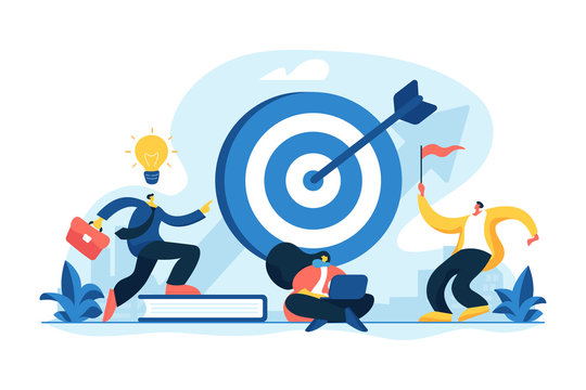 Aim achievement. Business motivation. Finance target. Solution searching. Goals and objectives, business grow, business plan, goal setting concept. Vector isolated concept creative illustration