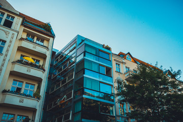 apartment house at berlin, prenzlauer berg in the summer