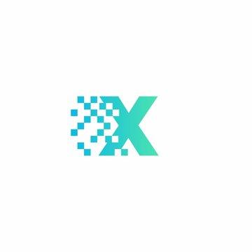 X Letter pixel logo design modern template