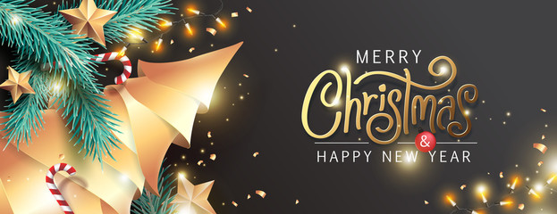 Fototapete - Merry Christmas and Happy New Year background for Greeting cards with tree Branches christmas tree gold paper and gold stars.Merry Christmas vector text Calligraphic Lettering Vector illustration.