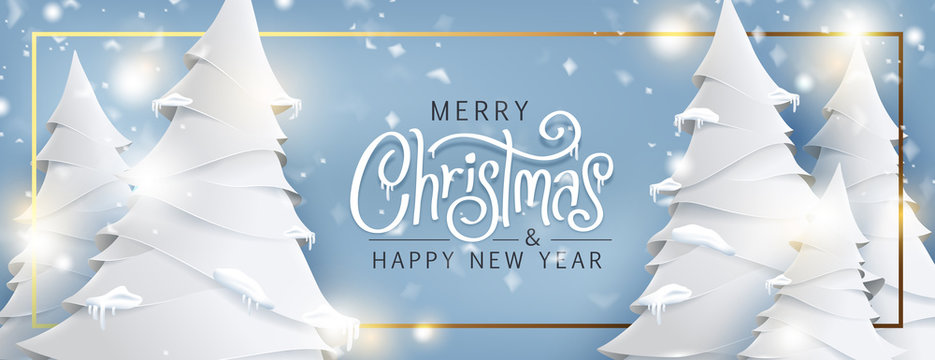 Merry Christmas and Happy New Year background for Greeting cards with christmas tree landscape and snowing paper art style.Merry Christmas vector text Calligraphic Lettering Vector illustration.