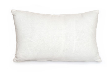 Isolated white pillow on a white background. Burlap pillow case. Factory product for sleep. Beddin