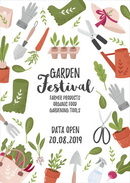 Creative vertical flyer or poster template with gardening