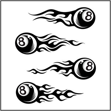 billiard 8 ball tribal flame set of 4