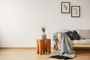 End table with fresh plant placed by the sofa with handmade cushion and blanket in real photo with empty place for your rack