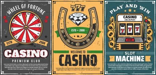 Poker, slot machine 777 in casino, lucky horseshoe Wall mural