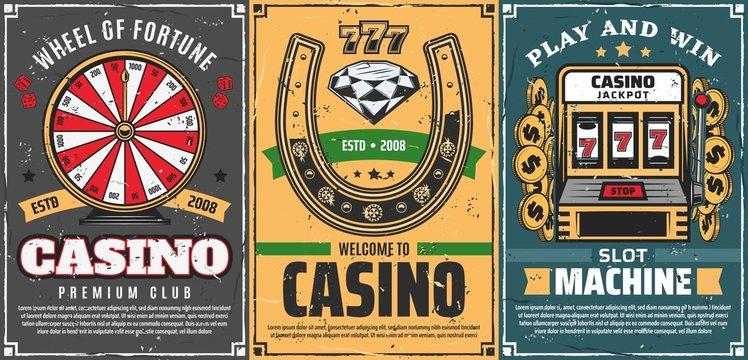 Poker, slot machine 777 in casino, lucky horseshoe
