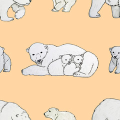 Seamless pattern with the image of a polar bears and cubs