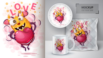 Cute bee with heart - mockup for your idea