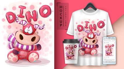 Teddy dino poster and merchandising