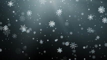 Seasonal Winter Holiday Background. Festiveal Snowfall on Dark Sky. White Snowflakes Fall. Frost Snow and Sunshine. Vector illustration