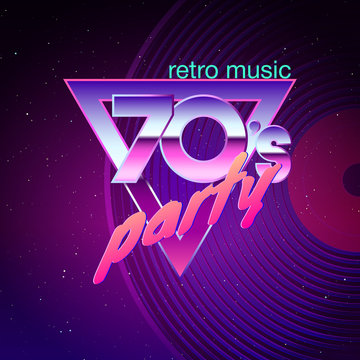 Paster template for retro disco party 70s. Neon colors and vinyl record on background. Vintage music flyer. Vector illustration