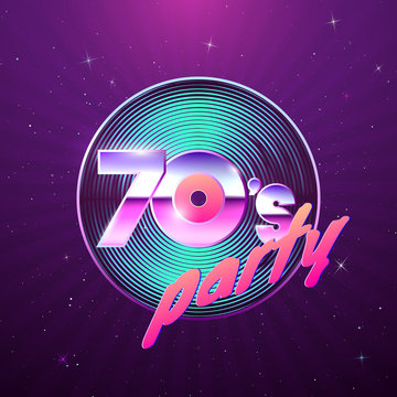 Paster template for retro disco party 70s. Vinyl record and neon colors element of 1970 style. Vintage music flyer. Vector illustration