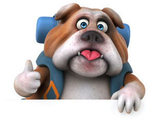 Fun backpacker bulldog cartoon character