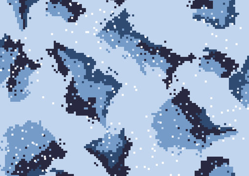 abstract square 8 bit art camouflage military pattern, skin texture Blue color, fashion fabric printing vector illustration.