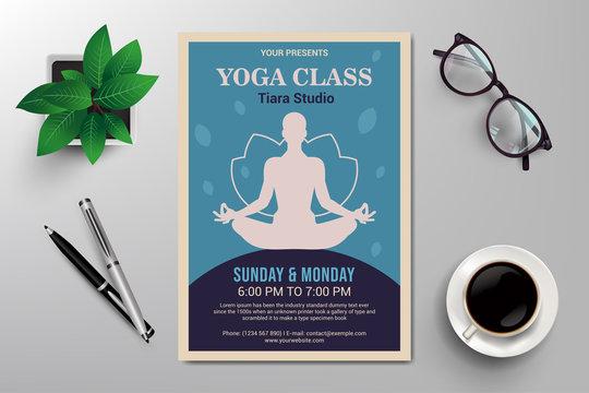 yoga class flyer template, retro flat design vector