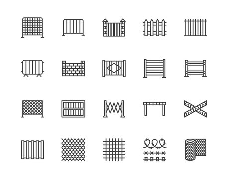 Fence flat line icons set. Wood fencing, metal profiled sheet, wire mesh, crowd control barricades vector illustrations. Outline signs for protection store. Pixel perfect 64x64. Editable Strokes
