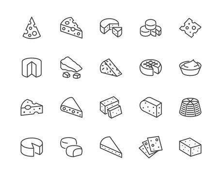 Cheese flat line icons set. Parmesan, mozzarella, yogurt, dutch, ricotta, butter, blue chees piece vector illustrations. Outline signs for dairy product store. Pixel perfect 64x64. Editable Strokes