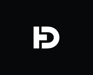 Creative and Minimalist Letter HD DH Logo Design Icon | Editable in Vector Format in Black and White Color