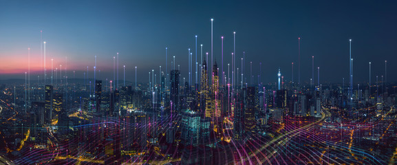 Smart city and abstract dot point connect with gradient line and aesthetic Intricate wave line...