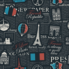 Vector seamless pattern on France and Paris theme with inscriptions, architectural landmarks, French map and flag in retro style on the black newspaper background. Wallpaper, wrapping paper, fabric