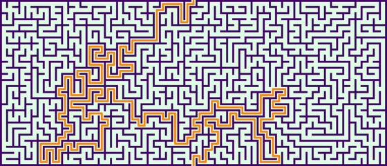 Panoramic maze with solution. Vector illustration.