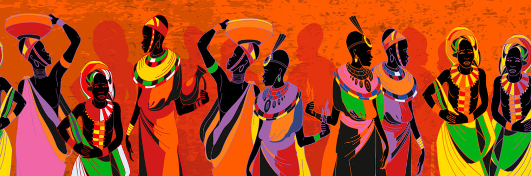 African women silhouettes in national clothes seamless pattern. People of South Africa, vector illustration. Beautiful black females