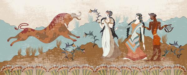 Ancient Greece frescos. Minoan civilization. Jumping bulls and people. Knossos murals mythology. History of Crete. Heraklion