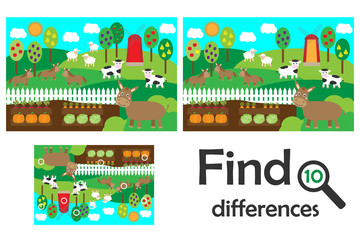 Find 10 differences, game for children, farm animals and garden cartoon, education game for kids, preschool worksheet activity, task for the development of logical thinking, vector illustration