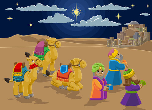 A Christmas nativity scene cartoon, with with three wise men or magi and their camels arriving with their gifts. The City of Bethlehem and star above. Christian religious illustration.