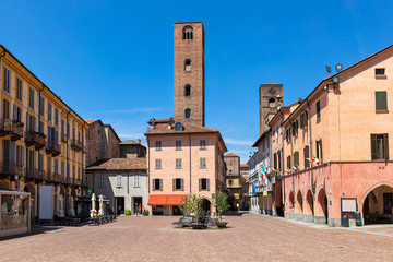 Old town center of Alba, Italy.