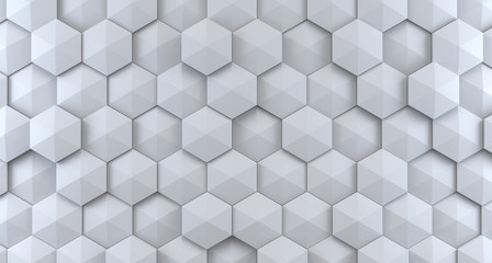 Background from white hexagons. 3d rendering illustration.
