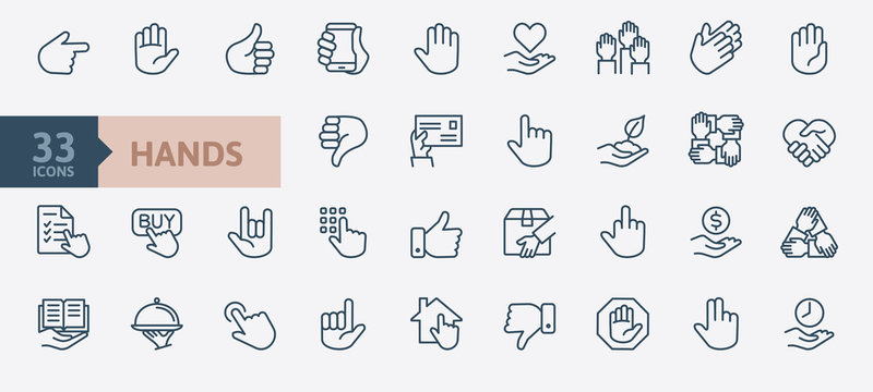 Hands gesture - minimal thin line web icon set. Outline icons collection. Simple vector illustration.