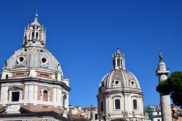 View on Basilica Ulpia, Trajan's Column and Santa Maria di Loreto. Ancient Roman architecture, Italy