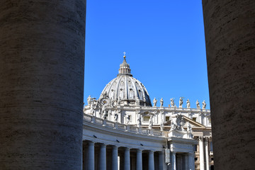 St Peter's basilica in Rome, Vatican. View of the dome of St Peter's basilica in Vatican and blue sky in background