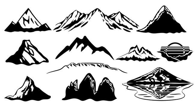 mountain vector set graphic clipart