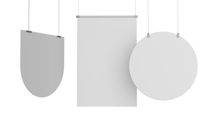 Set Of Various Shapes White Banners. 3D rendering