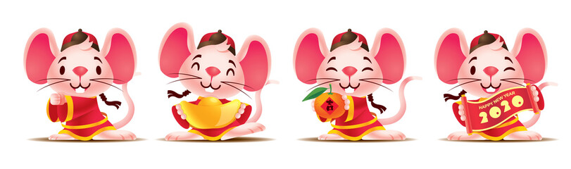 Cartoon cute mouse set with traditional chinese costume. Cute rat with golds / red scroll / mandarin orange. Chinese New Year 2020. The year of rat. Translation: lucky (Orange) - Vector