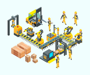 Factory isometric. Industrial machinery production electronics technology manufacturing vector concept of factory. Illustration isometric production, factory machinery industry