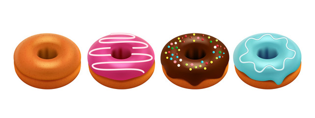 Sweet glazed donuts isolated on white background. Realistic donuts vector set. Sweet breakfast, colored donut dessert, bakery colorful illustration