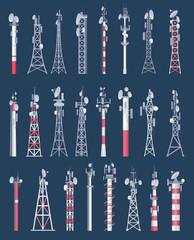 Wireless tower. Cellular wifi radio and tv cell communication towers with antena vector collection. Antenna radio communication, tower cellular network illustration