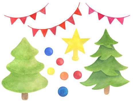 Watercolor Xmas set. Hand drawn Christmas tree, star topper, balls and decorations, garland. Celebration elements isolated on white background for design, cards, print.